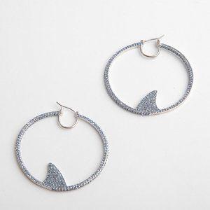 Kate Spade Shiny Blue Full Diamond Shark Earrings